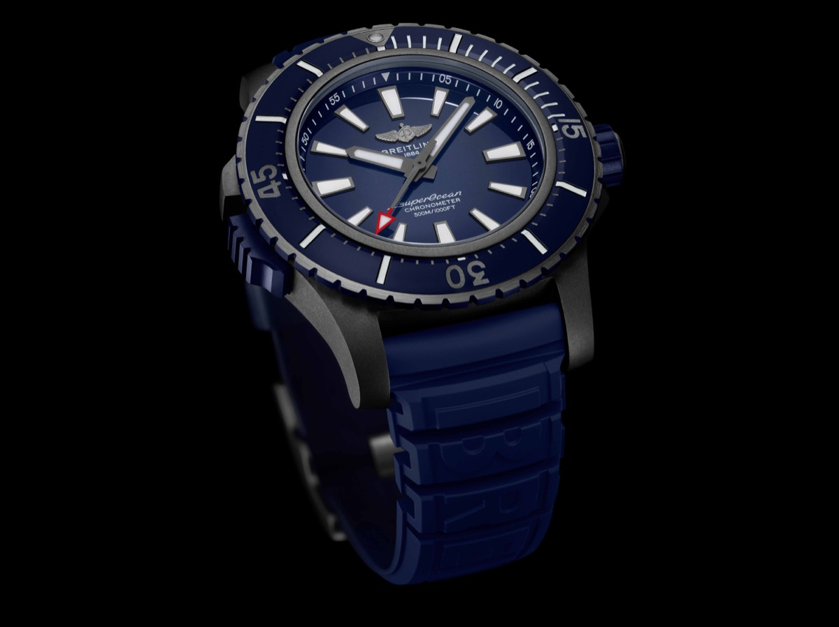Superocean 48 in black titanium with blue dial and blue vented rubber strap (PPR/Breitling)