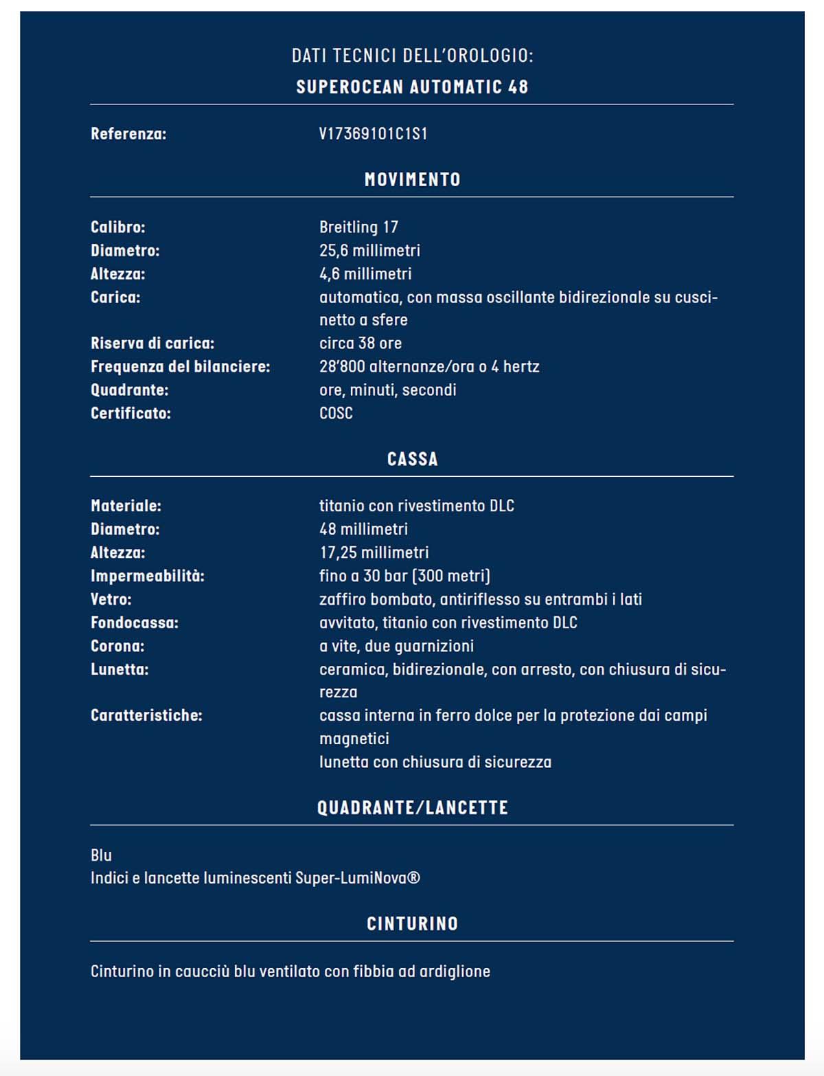 La scheda tecnica del Breitling Superocean 48