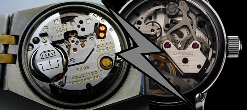 Il meccanismo di un orologio al quarzo e di un orologio automatico