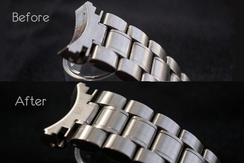 Il bracciale di un orologio prima e dopo la pulizia